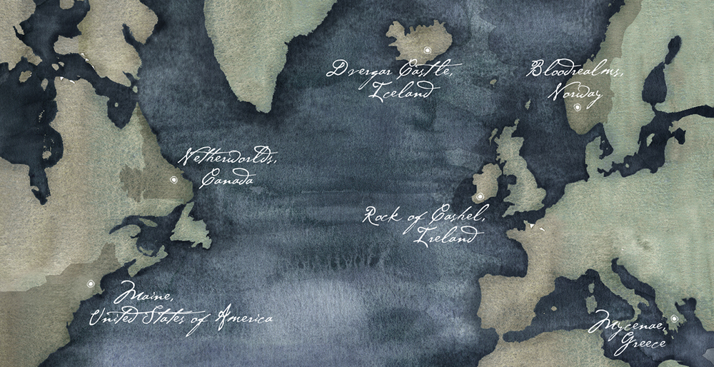 Bloodmark Map for the Bloodmark Saga by Aurora Whittet Best, map illustrated by @hellojenrich
